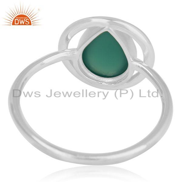 Wholesalers New Design Sterling Silver Green Onyx Gemstone Ring Jewelry Wholesale