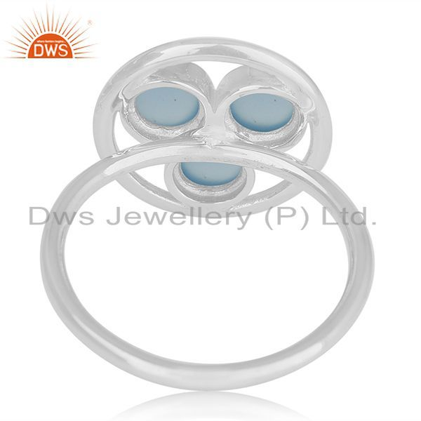 Wholesalers Blue Chalcedony Gemstone 925 Sterling Silver Round Circle Ring Manufacturer