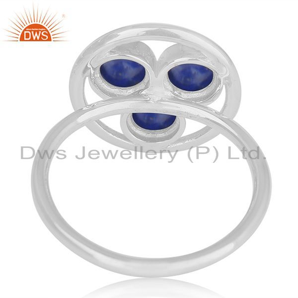 Wholesalers Lapis Lazuli Gemstone 925 Sterling Silver Round Circle Ring Manufacturer India