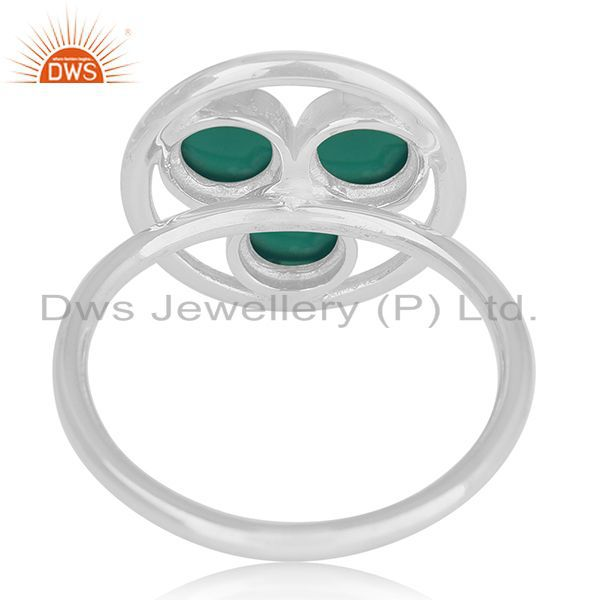 Wholesalers Green Onyx Gemstone 925 Sterling Silver Ring Manufacturer of Custom Jewelry