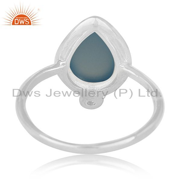 Wholesalers Handmade Sterling Silver Blue Chalcedony Gemstone Ring Jewelry