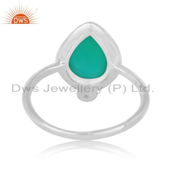 Wholesalers Green Onyx Gemstone Sterling Silver Designer Ring Manufacturer Jaipur