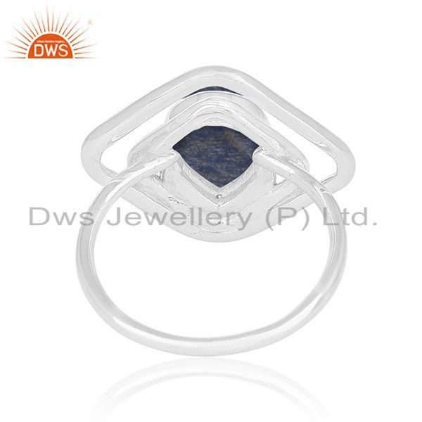 Wholesalers Lapis Lazuli Gemstone 925 Silver White Rhodium Plated Ring Supplier