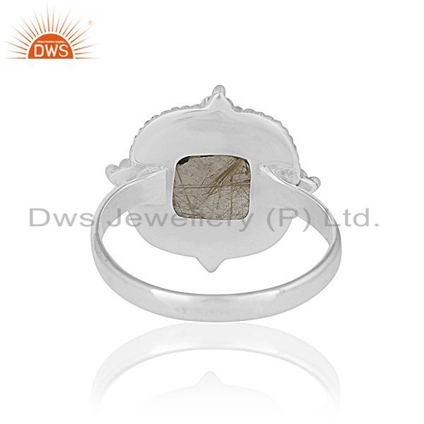 Wholesalers Golden Rutile Gemstone Oxidized 925 Silver Ring Manufacturer for Designers India