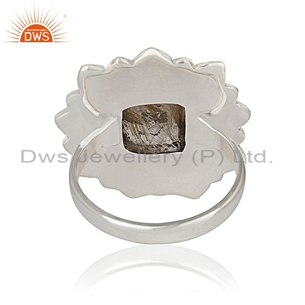 Wholesalers Black Oxidized 92.5 Silver Golden Gemstone Cocktail Ring Jewelry Manufacturer