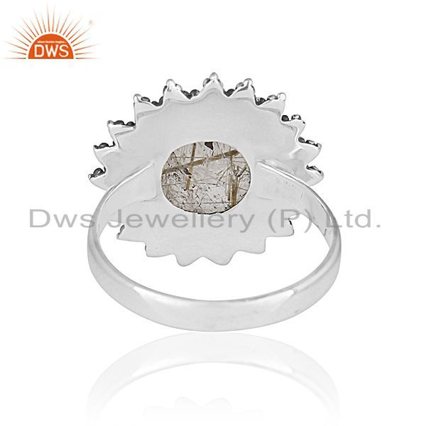 Wholesalers Genuine Antique Silver Golden Rutile Gemstone Private Label Ring Manufacturer