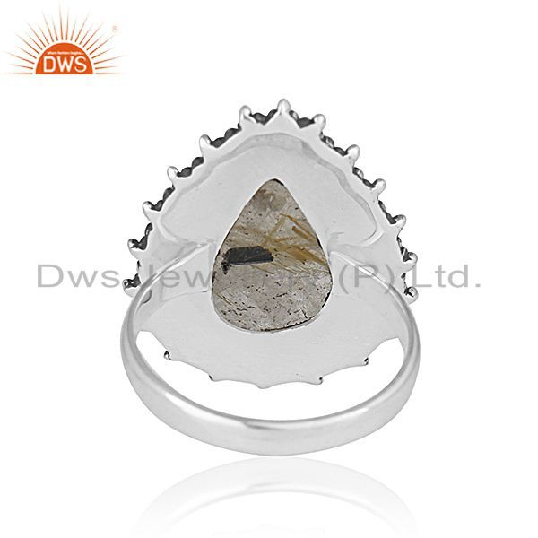 Wholesalers Golden Rutile 925 Silver Oxidized Custom Ring Jewelry Manufacturer from India