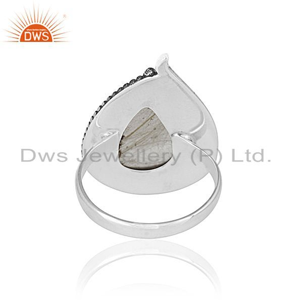 Wholesalers Golden Rutile Gemstone 925 Silver Oxidized Ring Manufacturer