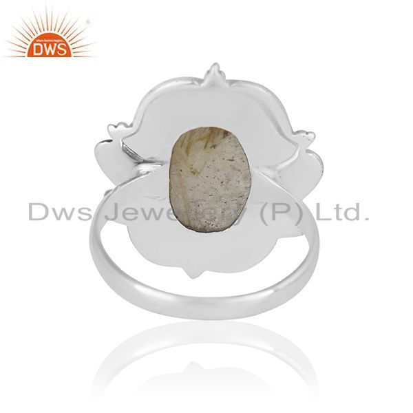 Wholesalers Golden Rutile Gemstone 925 Silver Ring Jewelry Manufacturer for Brands