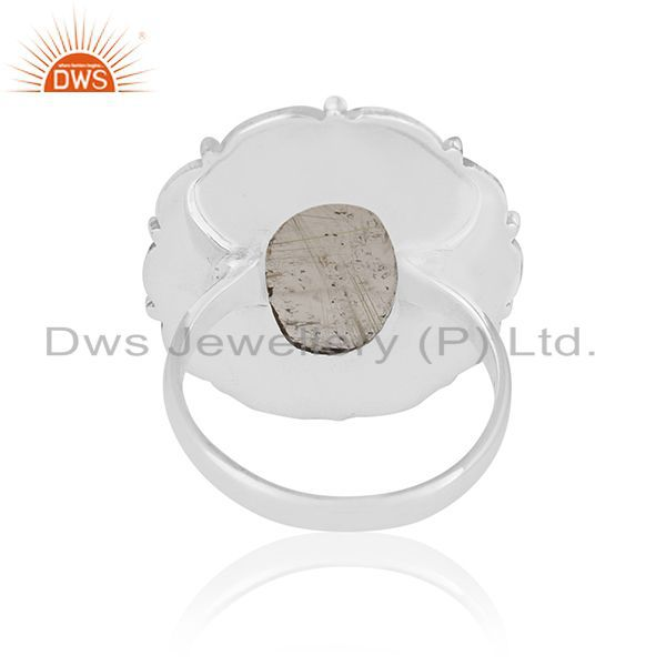 Wholesalers Oxidized 92.5 Silver Golden Rutile Gemstone Ring Manufacturer for Designers