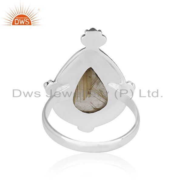 Wholesalers Genuine Golden Rutile Gemstone Sterling Silver Custom Ring Jewelry Manufacturer