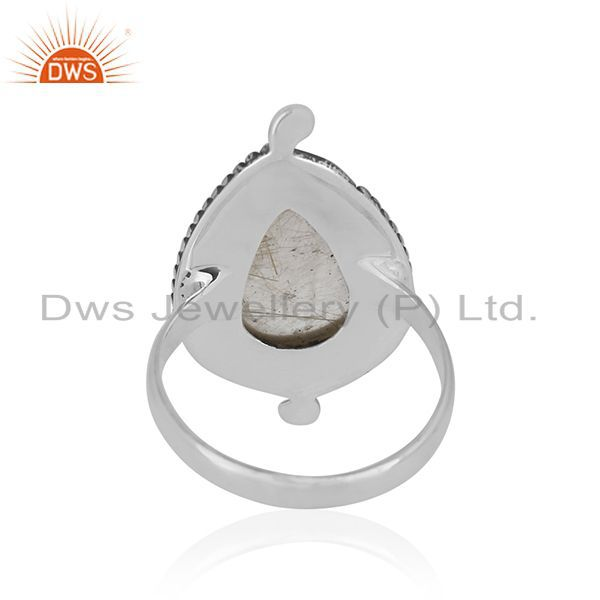 Wholesalers Natural Golden Rutile Gemstone Sterling Silver Private Label Ring Manufacturer