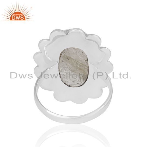 Wholesalers Natural Golden Rutile Quartz Gemstone 925 Silver Oxidized Ring Manufacturers