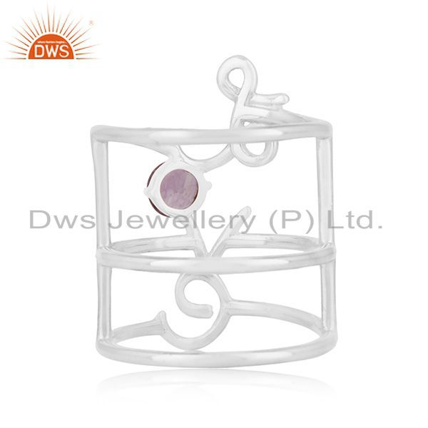 Wholesalers Amethyst Birthstone Love Initial 925 Silver Custom Ring Manufacturers