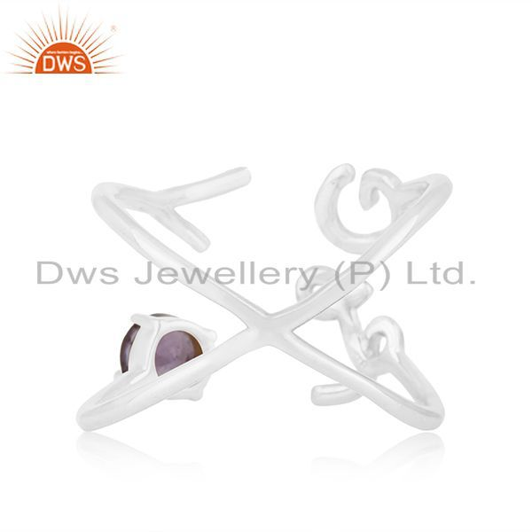 Wholesalers Initial Love 925 Silver Amethyst Gemstone Ring Jewelry Manufacturer