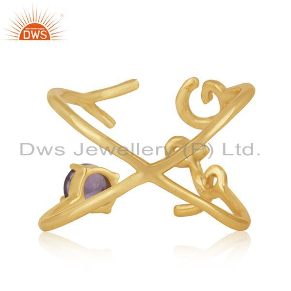 Wholesalers Initial Love Gold Plated 925 Silver Amethyst Gemstone Ring Wholesalers