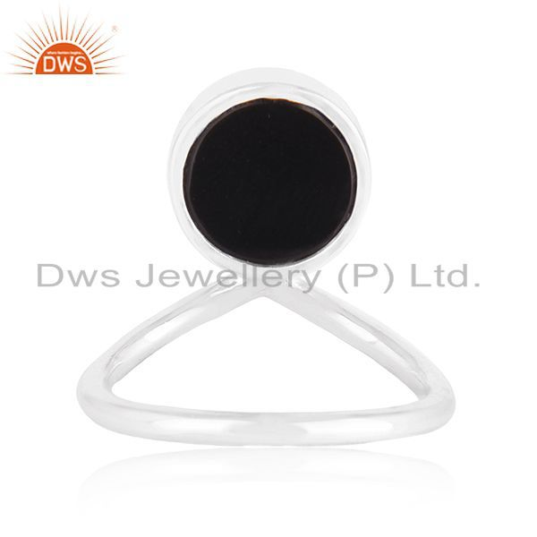 Wholesalers Custom Peace Sign Sterling Fine Silver Onyx Gemstone Ring Manufacturer