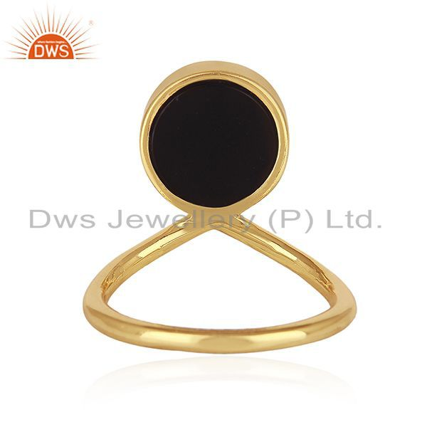 Wholesalers Peace Sign Gold Plated Sterling Silver Black Onyx Gemstone Charm Ring Wholesale