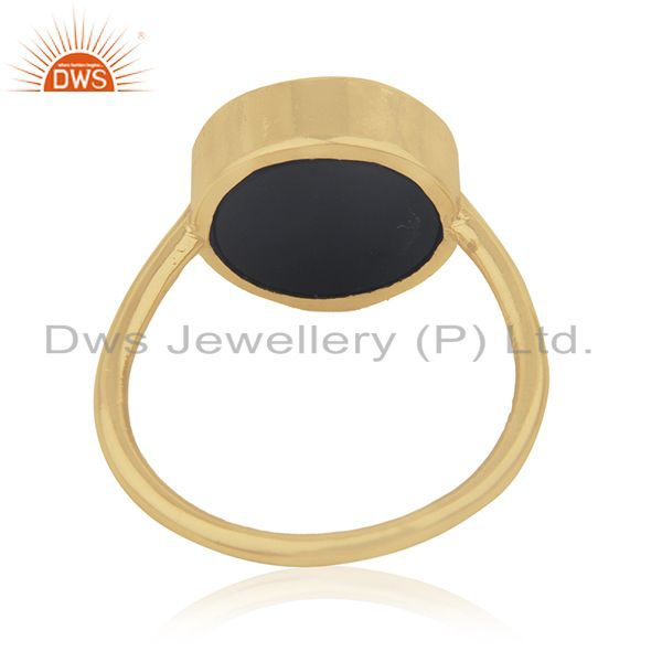 Wholesalers 14k Gold Plated Customized Peace Sign 925 Silver Ring Manufacturer India