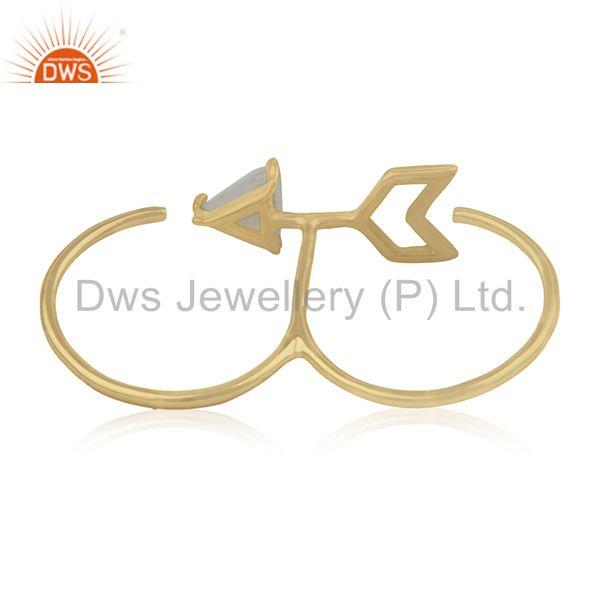 Wholesalers Arrow Design 925 Silver Gold Plated Moonstone Double Finger Ring Supplier