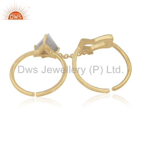 Wholesalers Arrow Shape Double Finger Sterling Silver Chain Ring Manufacturers