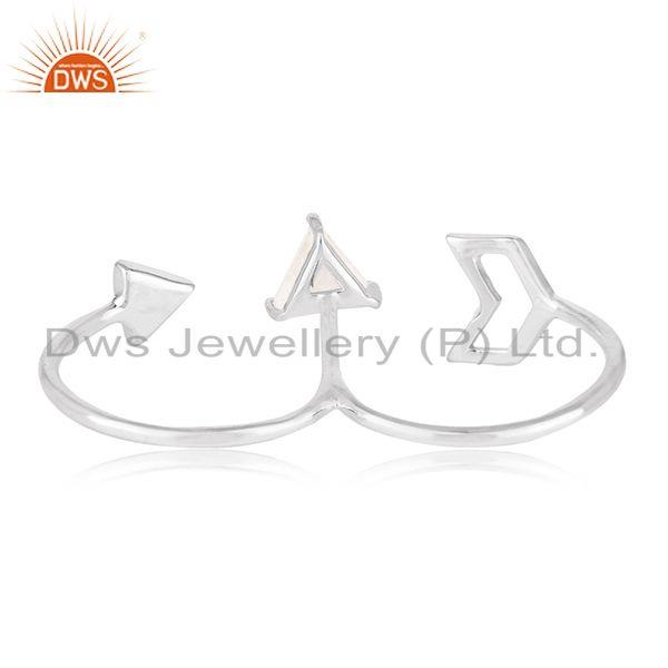 Wholesalers Fine 925 Silver Arrow Design Gemstone Double Finger Ring Jewelry Wholesale
