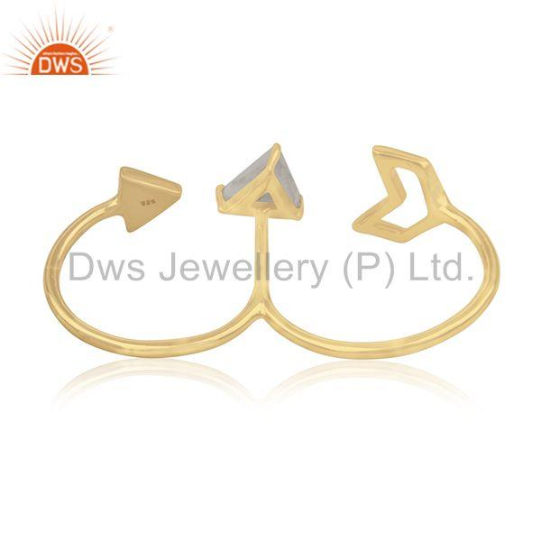 Wholesalers Gold Plated 925 Silver Gemstone Arrow Shape Double Finger Ring Jewelry Supplier