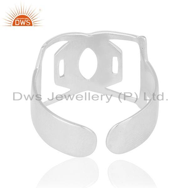 Wholesalers White Rhodium Plated Sterling 92.5 Plain Silver Openable Band Ring Wholesale
