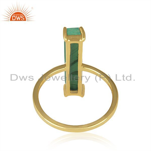 Wholesalers Malachite Gemstone 925 Silver Gold Plated Ring Manufacturer of Jewelry