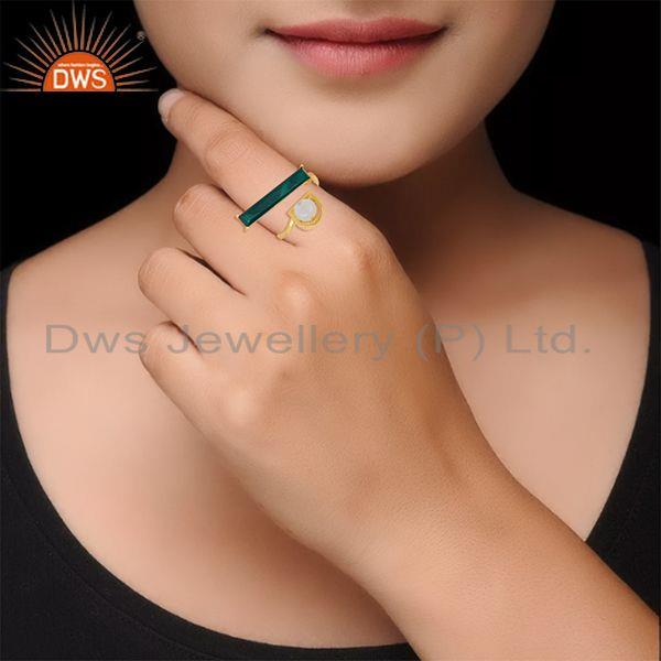 Wholesalers Malachite and Rainbow Moonstone Gold Plated 925 Silver Ring Manufacturer