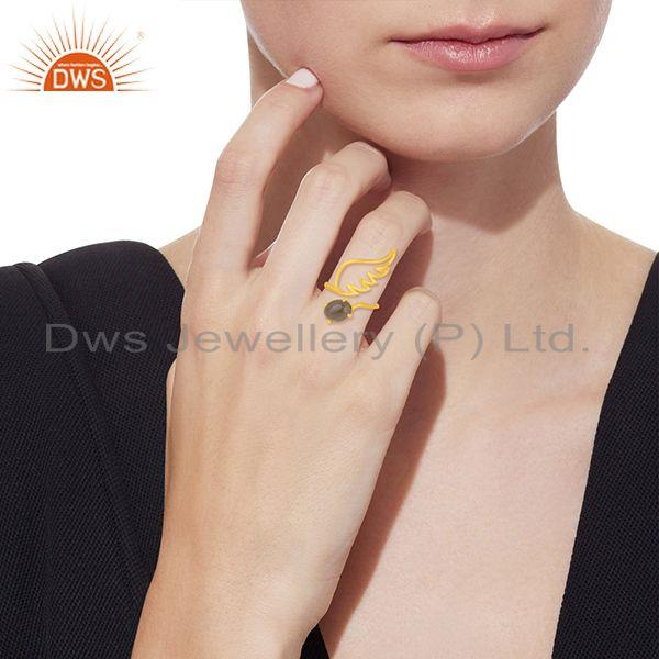 Wholesalers Amgel Wing 925 Sterling Silver Gold Plated Smoky Quartz Ring Manufacturers