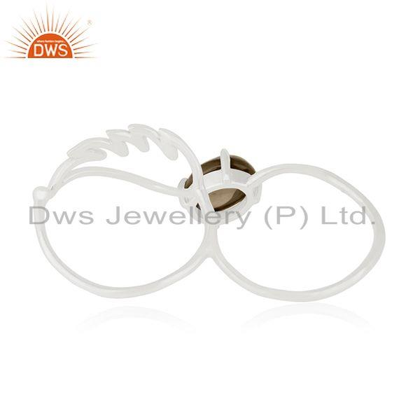 Wholesalers 92.5 Fine Silver Angel Wing Smoky Quartz Double Finger Ring Manufacturers
