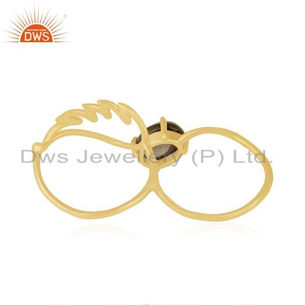 Wholesalers Angel Wing 925 Silver Gold Plated Smoky Quartz Double Finger Ring Wholesale