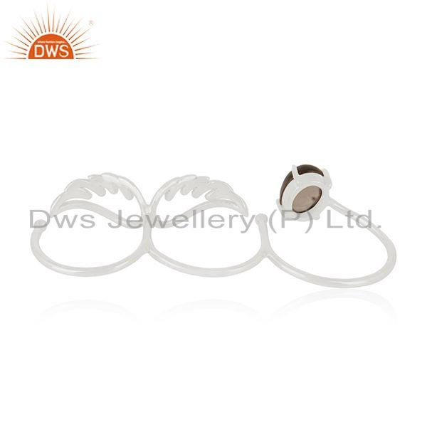 Wholesalers Fine Silver Smoky Quartz Angel Wing Three Finger Ring Manufacturer of Jewelry