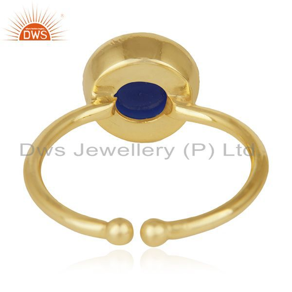 Wholesalers Blue Corundum Gemstone 925 Sterling Silver Gold Plated Ring Manufacturers