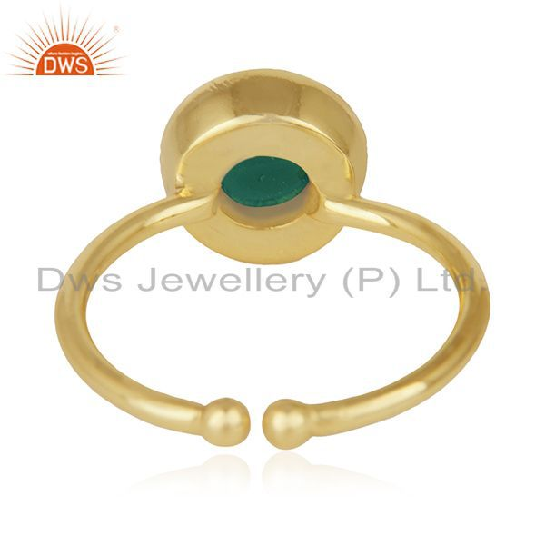 Wholesalers Green Onyx Gemstone 925 Sterling Silver Gold Plated Ring Wholesale Wholesalers