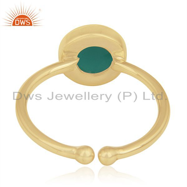 Wholesalers Green Onyx Gemstone 925 Sterling Silver Gold Plated Ring Wholesale