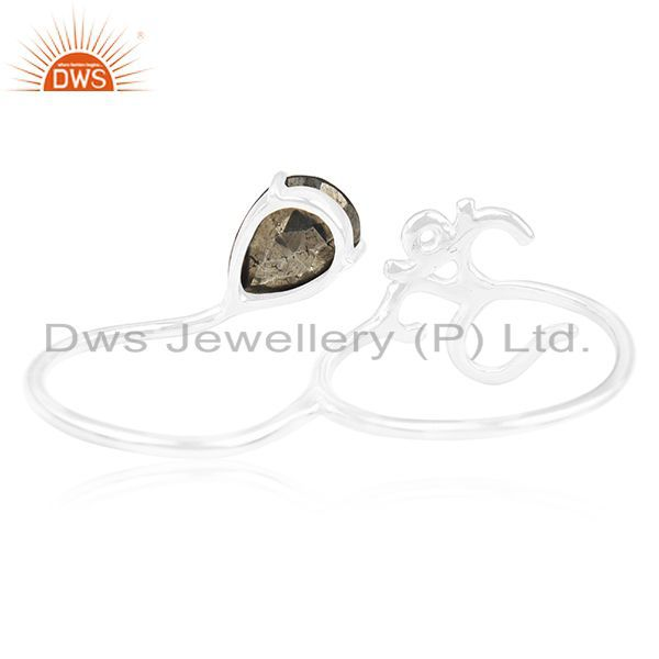Wholesalers Indian Religious Om Charm Pyrite Gemstone 925 Silver Double Finger Ring Supplier