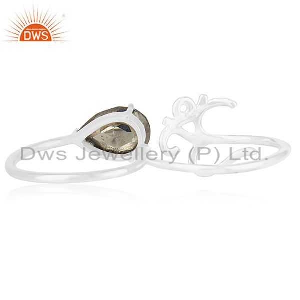 Wholesalers Fine Sterling Silver Om Charm Pyrite Gemstone Double Finger Ring Manufacturers