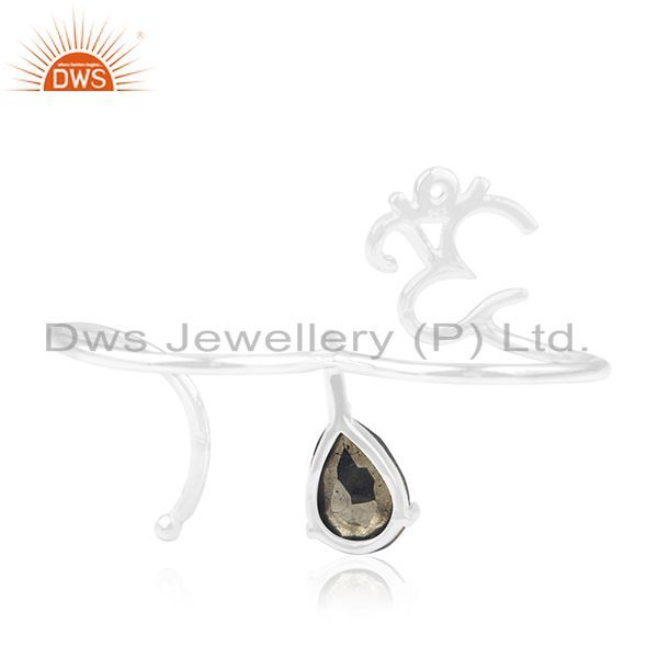 Wholesalers Pyrite Gemstone 925 Sterling Silver Om Aum Double Finger Ring Wholesale