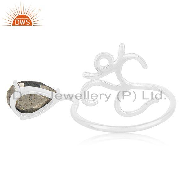 Wholesalers Fine Silver Om Aum Charm Pyrite Gemstone Double Finger Ring Manufacturers