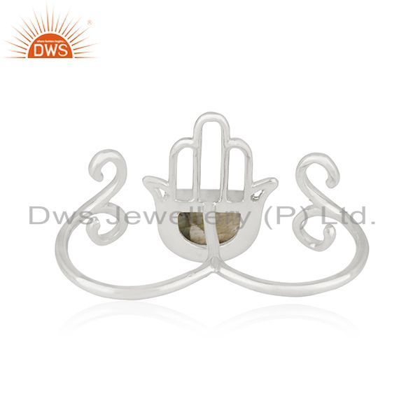 Wholesalers New Arrival Hamsa Hand Charm Fine Sterling Silver Double Finger Ring Wholesale