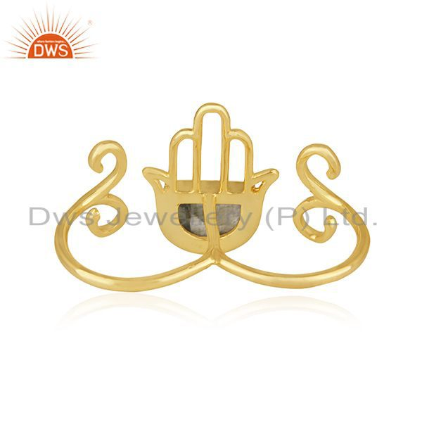 Wholesalers Designer Hamsa Hand Lucky Charm Gold Plated Silver Gemstone Double Finger Ring