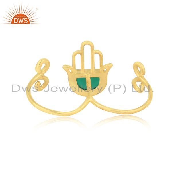 Exporter of Designer hamsa hand lucky charm gold on silver green onyx ring