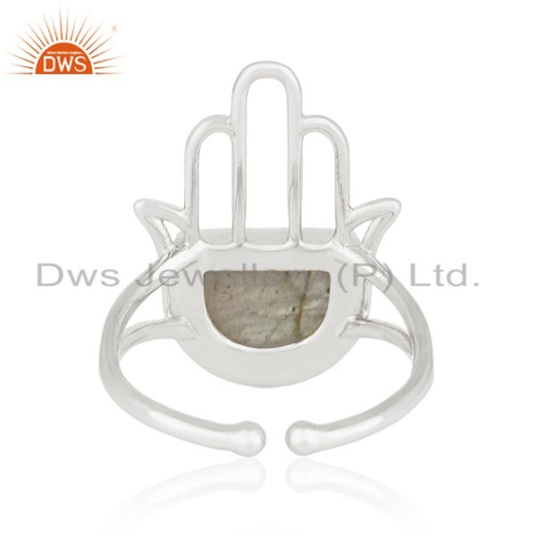 Wholesalers 92.5 Sterling Silver Lucky Hamsa Hand Charm Labradorite Ring Manufacturer