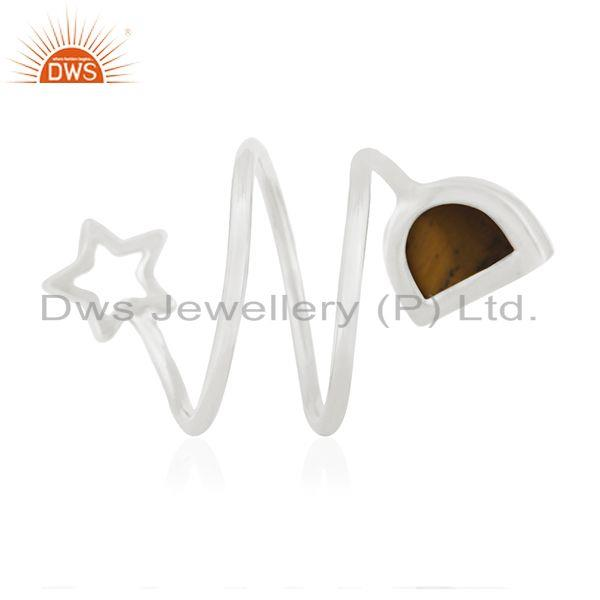 Wholesalers Tiger Eye Gemstone 925 Silver Star Charm Ring Manufacturers