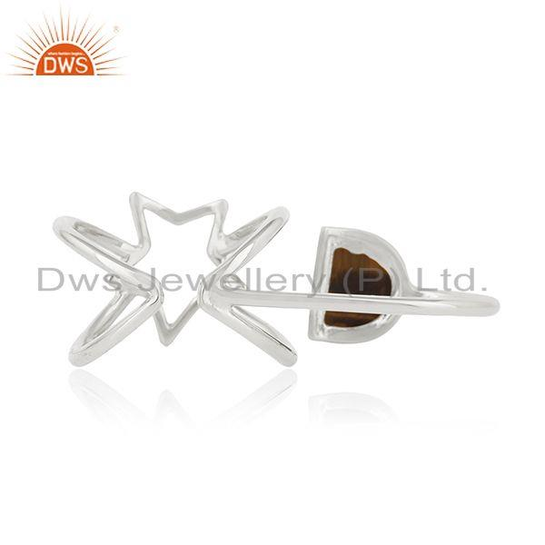 Wholesalers Tiger Eye Gemstone Fine Sterling Silver Star Charm Double Finger Ring Wholesale