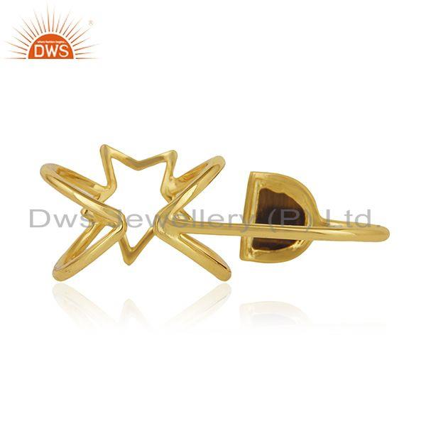 Wholesalers Gold Plated 925 Silver Tiger Eye Gemstone Star Charm Lucky Ring Wholesale
