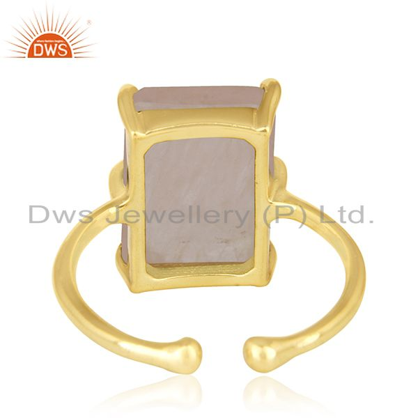 Wholesalers Prong Set Rose Quartz Gemstone Gold Plated 925 Silver Adjustable Ring Wholesale