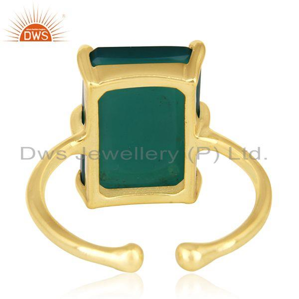 Wholesalers 925 Silver Gold Plated Green Onyx Gemstone Adjustable Ring Wholesalers